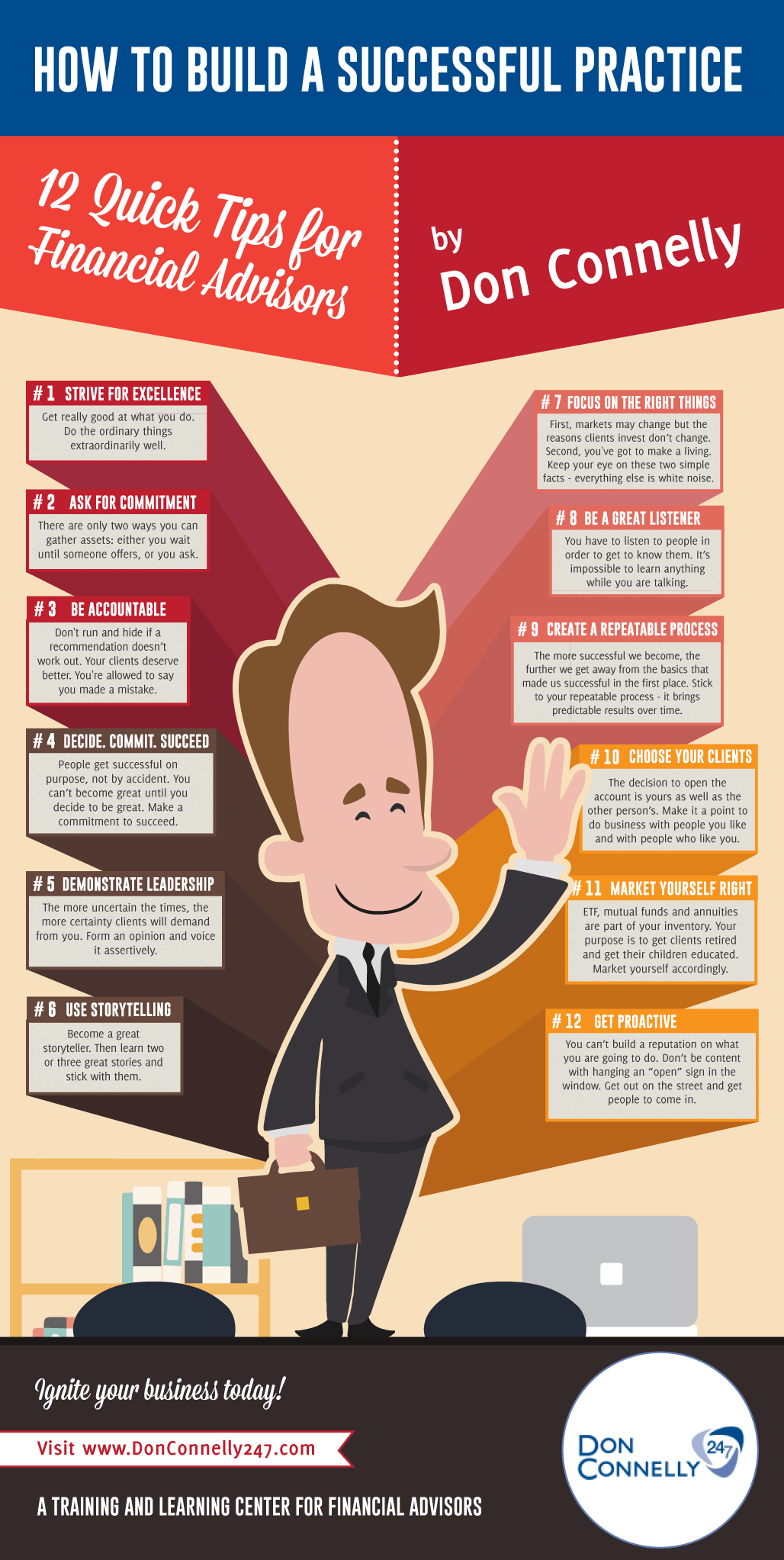 12 practice building tip for financial advisors by  don connell infographic=