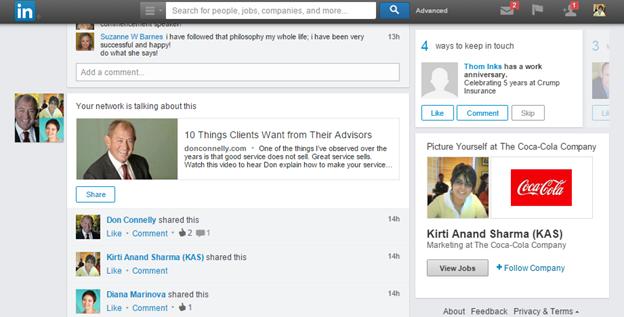 LinkedIn newsfeed